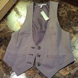 Old Navy vest gray white striped vest Small NWT
